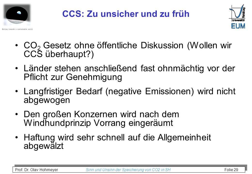 CCS: Zu unsicher und zu früh