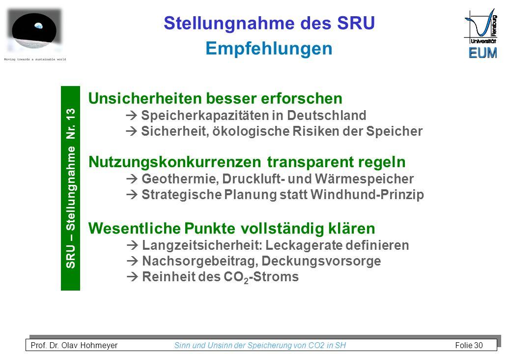 Stellungnahme des SRU Empfehlungen