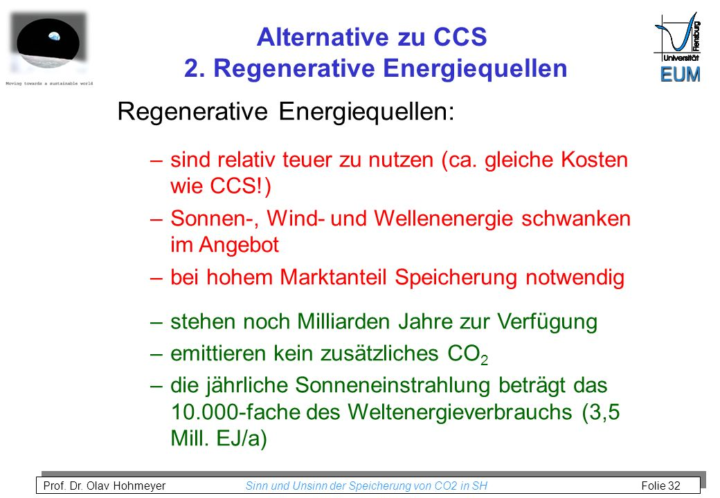Alternative zu CCS 2. Regenerative Energiequellen