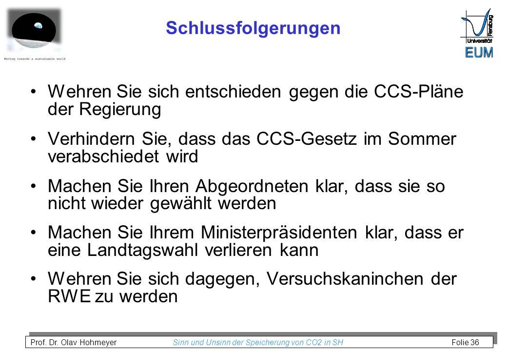 Schlussfolgerungen Wehren Sie sich entschieden gegen die CCS-Pläne der Regierung. Verhindern Sie, dass das CCS-Gesetz im Sommer verabschiedet wird.