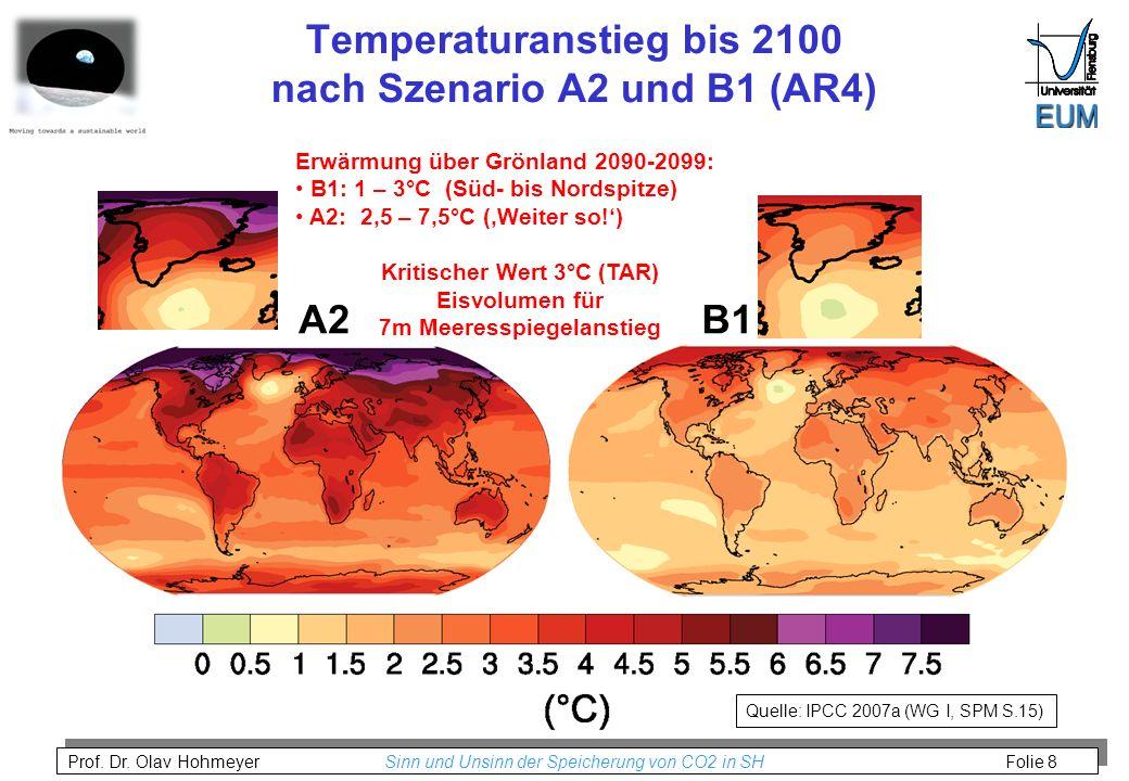 Temperaturanstieg bis 2100 nach Szenario A2 und B1 (AR4)