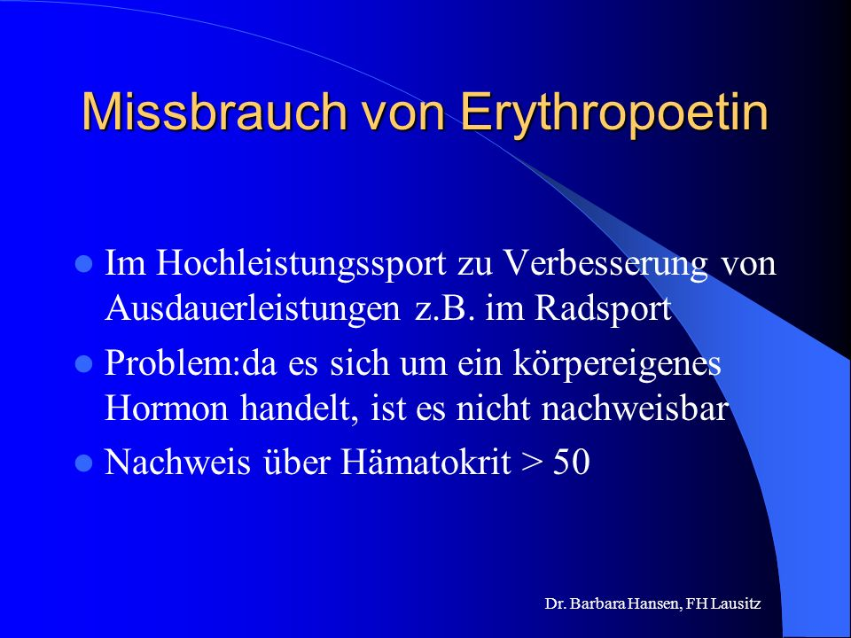 Missbrauch von Erythropoetin