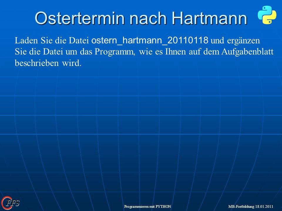 Ostertermin nach Hartmann