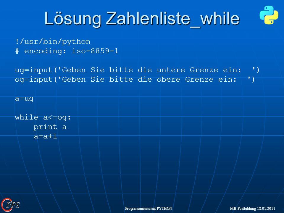 Lösung Zahlenliste_while