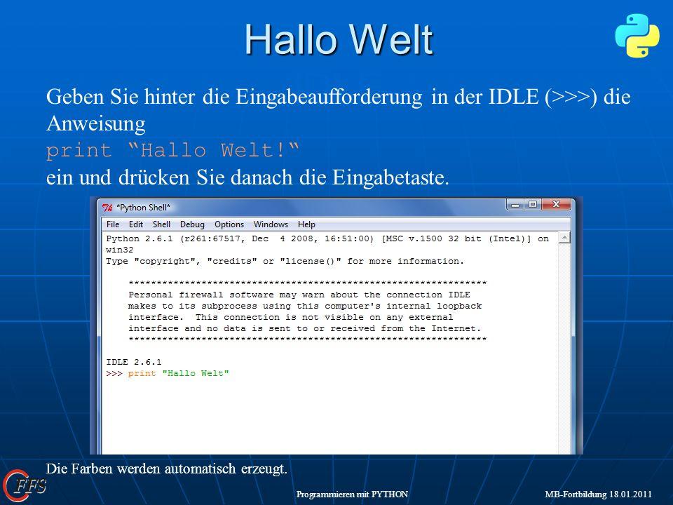 Hallo Welt IDLE