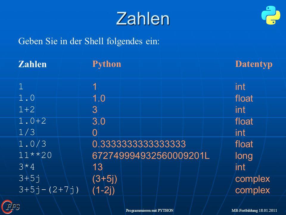 Zahlen Geben Sie in der Shell folgendes ein: Zahlen 1 1.0