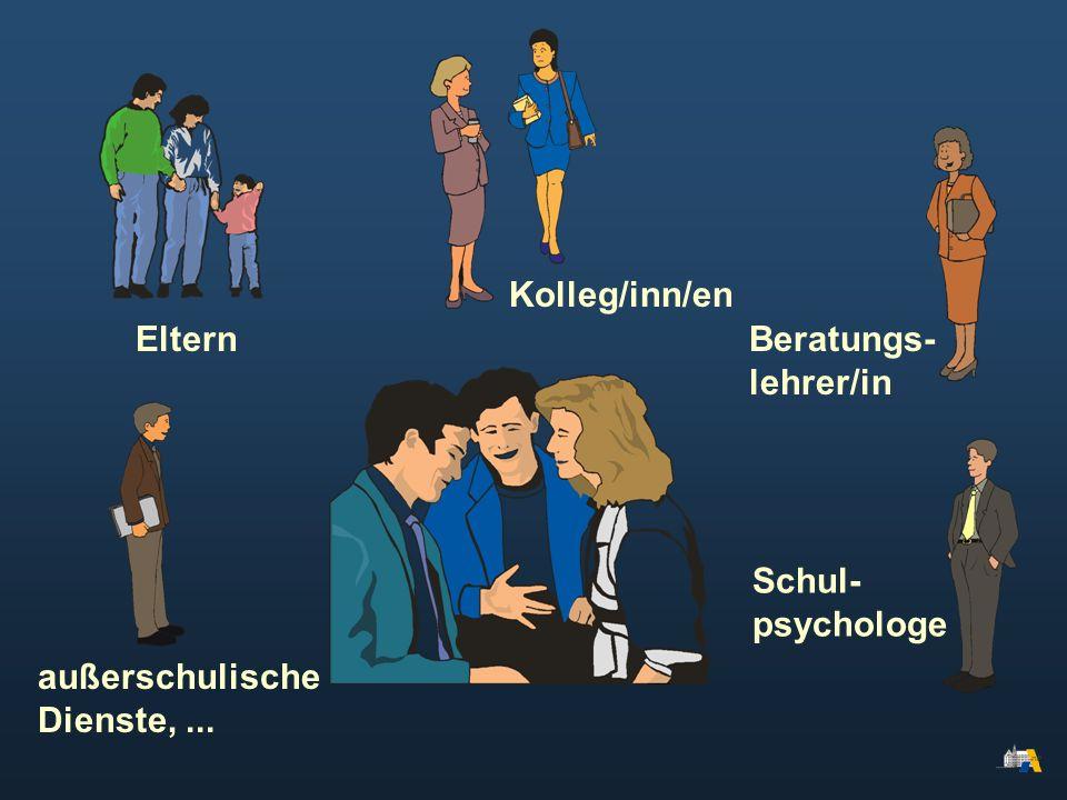 Kolleg/inn/en Eltern Beratungs- lehrer/in außerschulische Dienste, ... Schul- psychologe