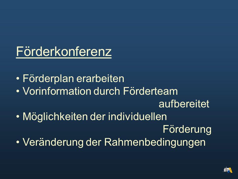 Förderkonferenz Förderplan erarbeiten