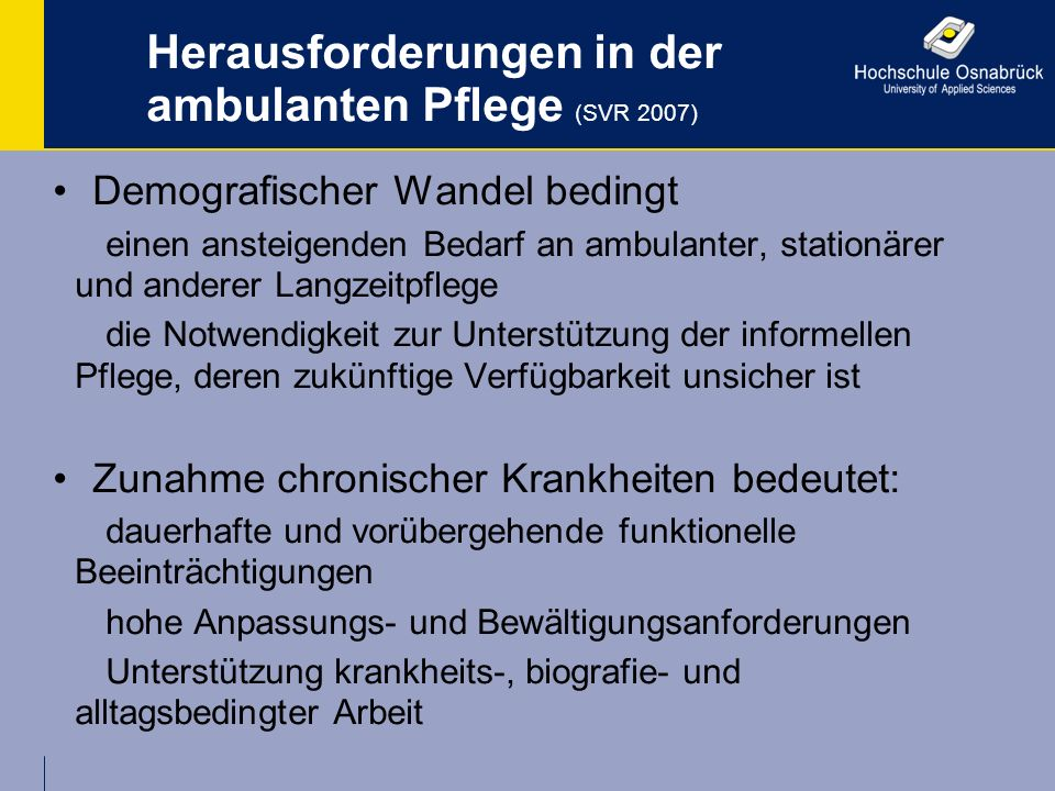 Herausforderungen in der ambulanten Pflege (SVR 2007)