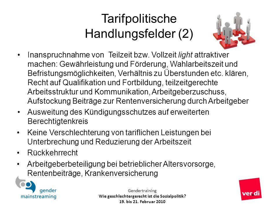 Tarifpolitische Handlungsfelder (2)