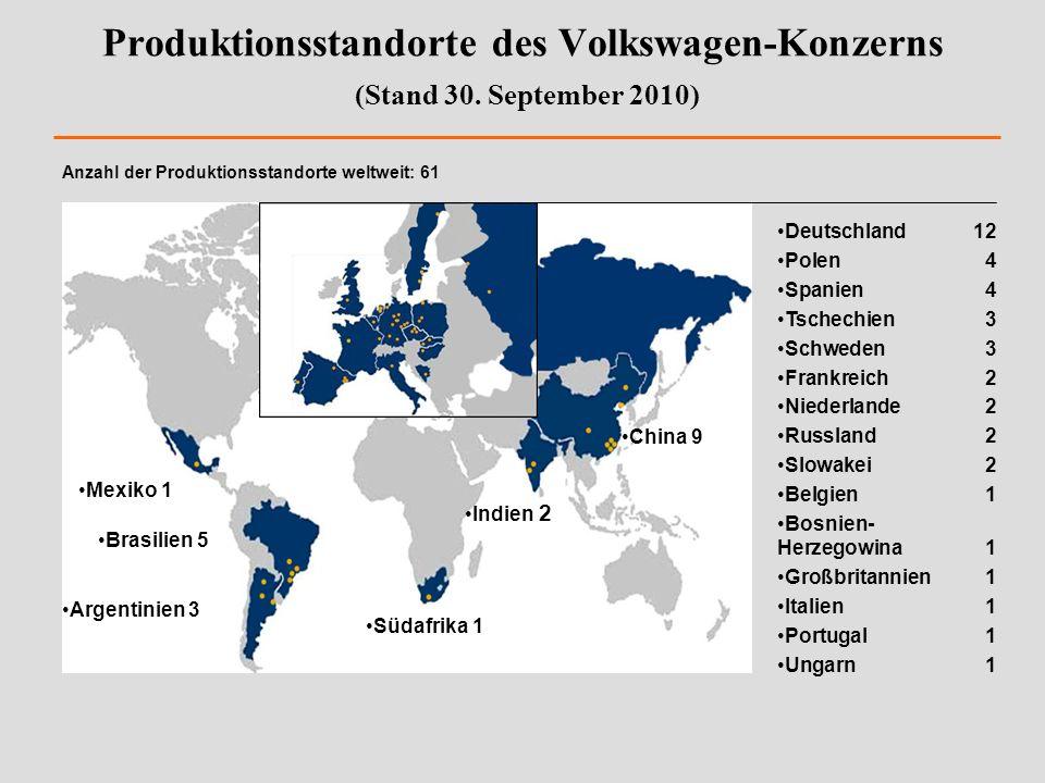 Produktionsstandorte des Volkswagen-Konzerns (Stand 30. September 2010)