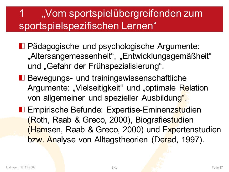 """1 """"Vom sportspielübergreifenden zum sportspielspezifischen Lernen"""