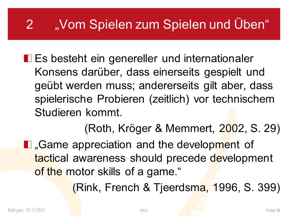 """2 """"Vom Spielen zum Spielen und Üben"""