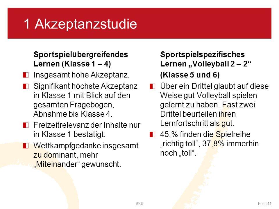 1 Akzeptanzstudie Sportspielübergreifendes Lernen (Klasse 1 – 4)