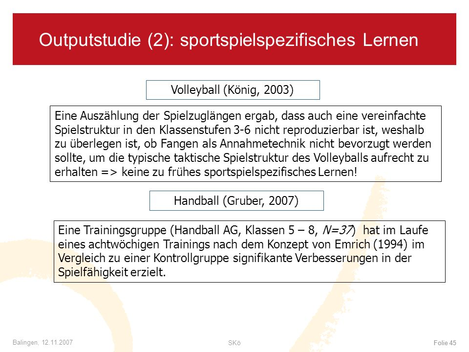 Outputstudie (2): sportspielspezifisches Lernen