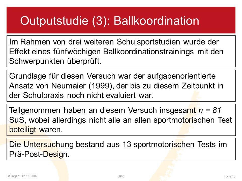 Outputstudie (3): Ballkoordination