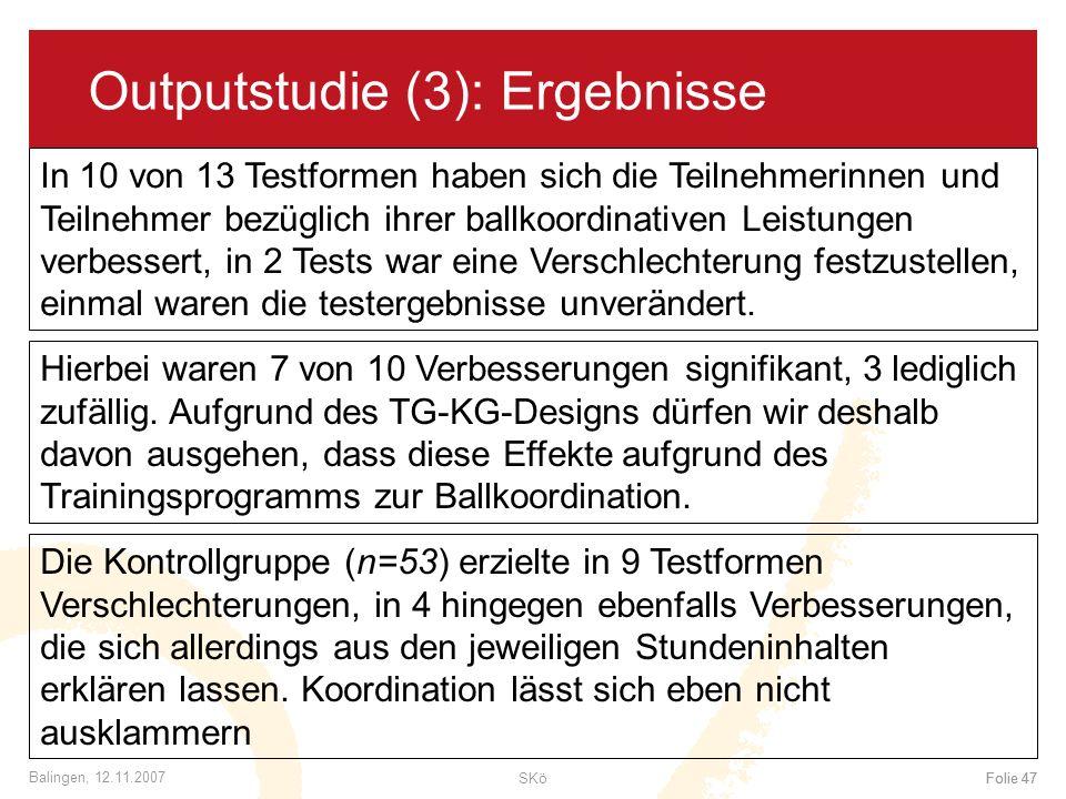Outputstudie (3): Ergebnisse