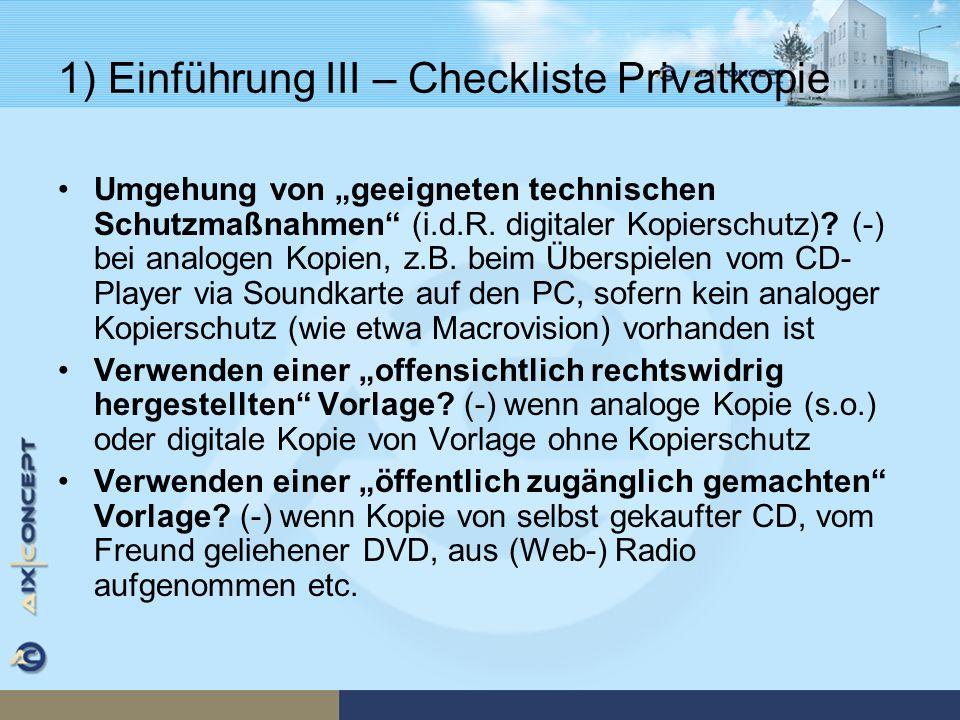 1) Einführung III – Checkliste Privatkopie