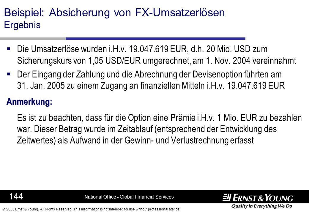 Beispiel: Absicherung von FX-Umsatzerlösen Ergebnis