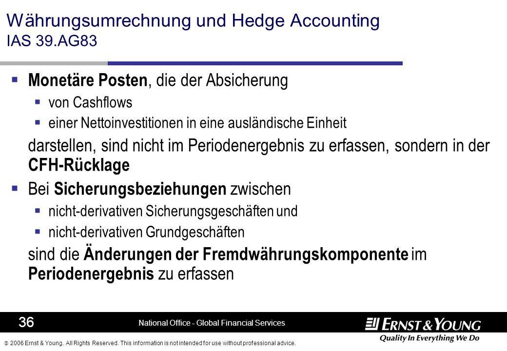 Währungsumrechnung und Hedge Accounting IAS 39.AG83