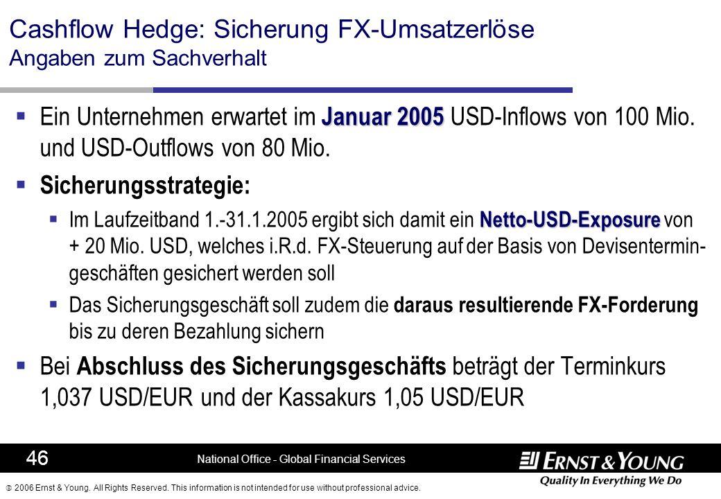 Cashflow Hedge: Sicherung FX-Umsatzerlöse Angaben zum Sachverhalt