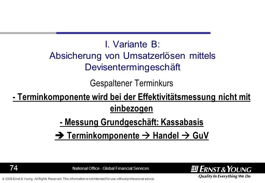 - Messung Grundgeschäft: Kassabasis  Terminkomponente  Handel  GuV