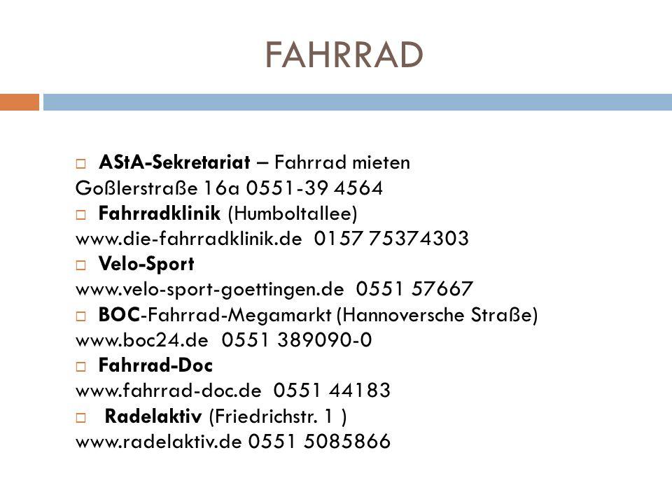 FAHRRAD AStA-Sekretariat – Fahrrad mieten