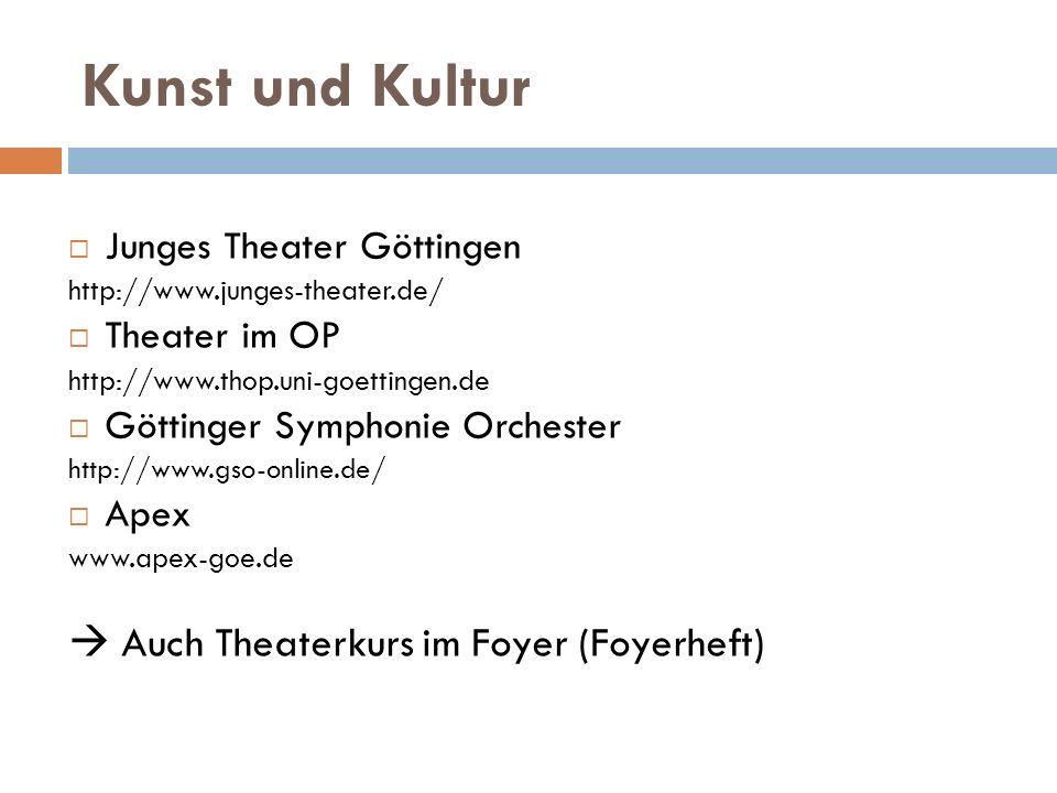 Kunst und Kultur  Auch Theaterkurs im Foyer (Foyerheft)