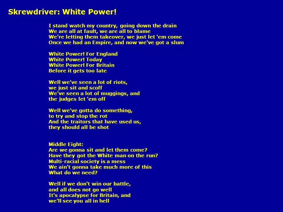 Skrewdriver: White Power!
