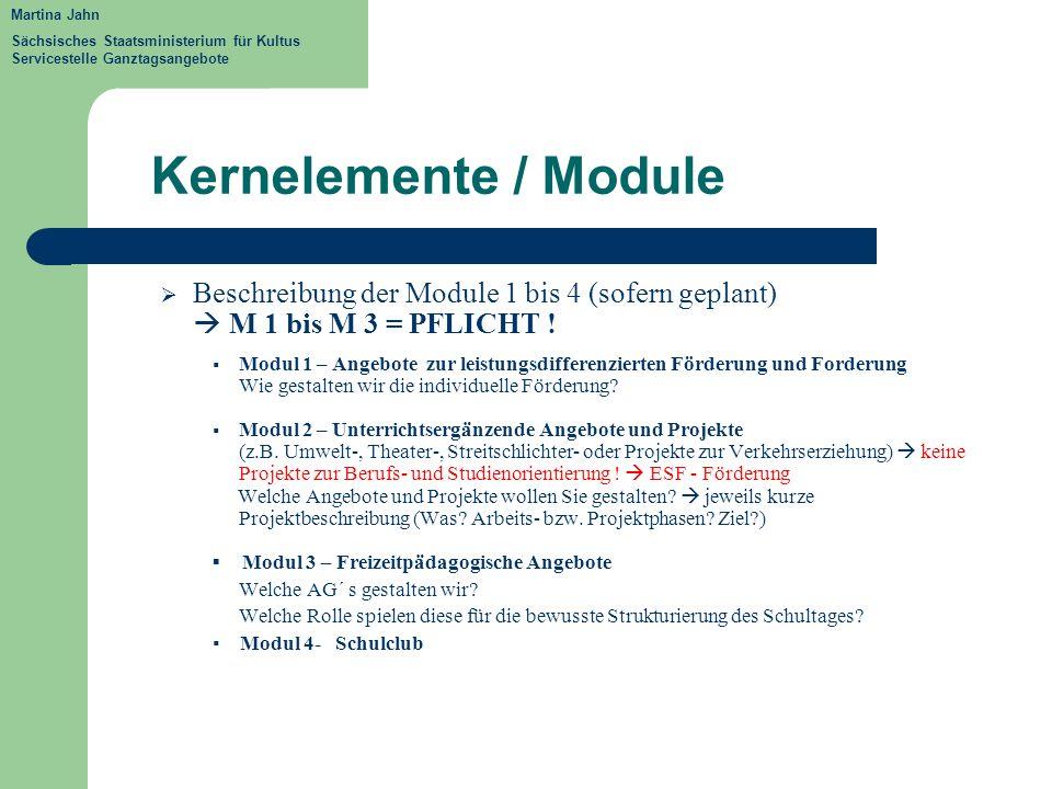 Kernelemente / Module Beschreibung der Module 1 bis 4 (sofern geplant)