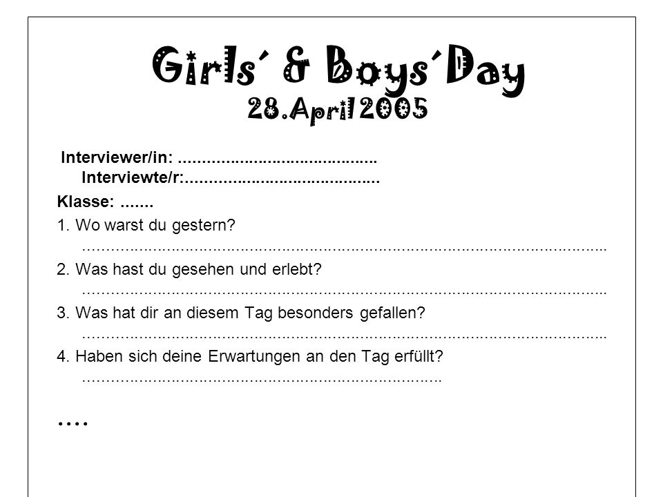 Girls´ & Boys´Day .... 28.April 2005