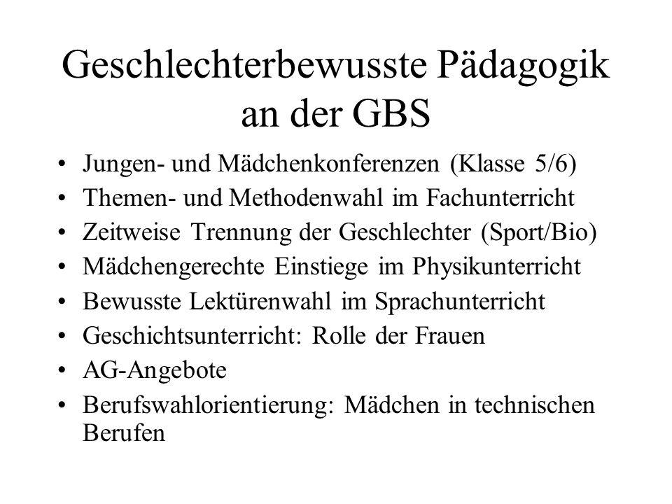 Geschlechterbewusste Pädagogik an der GBS