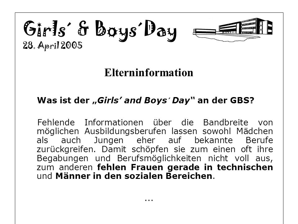 Girls´ & Boys´Day Elterninformation 28. April 2005