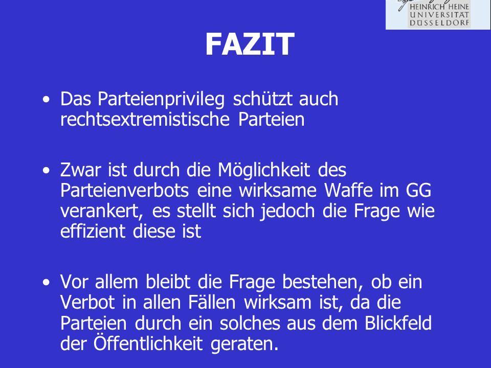 FAZIT Das Parteienprivileg schützt auch rechtsextremistische Parteien