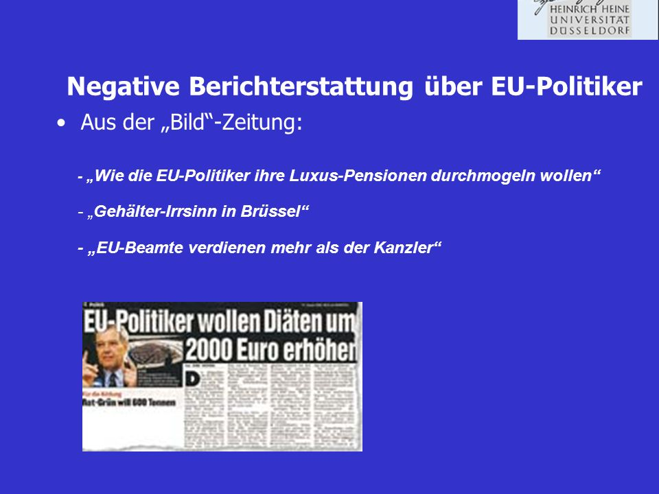 Negative Berichterstattung über EU-Politiker