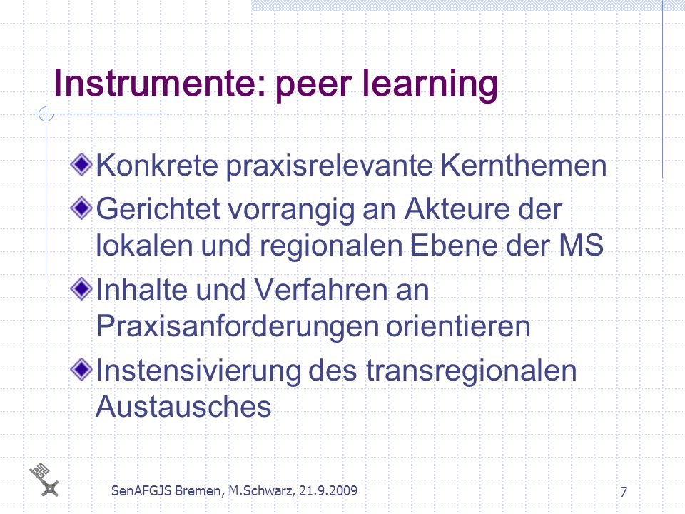 Instrumente: peer learning