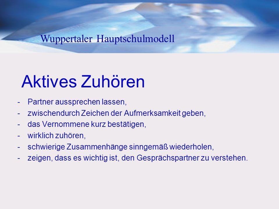 Aktives Zuhören Wuppertaler Hauptschulmodell