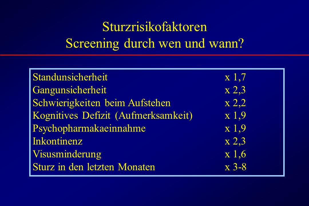 Sturzrisikofaktoren Screening durch wen und wann