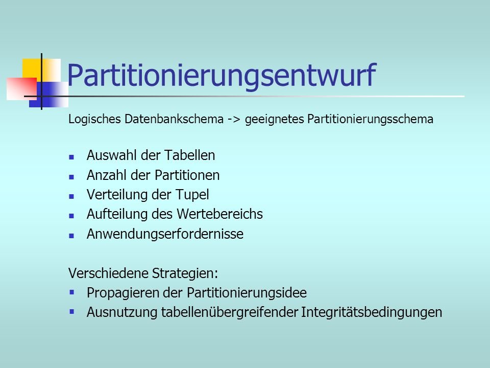 Partitionierungsentwurf