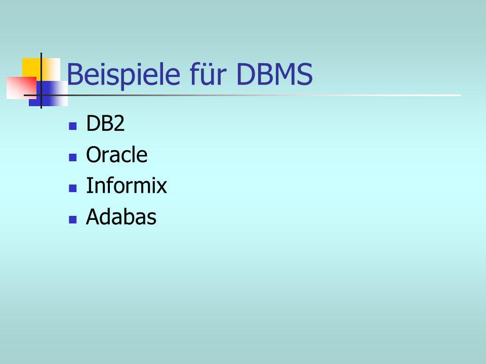 Beispiele für DBMS DB2 Oracle Informix Adabas