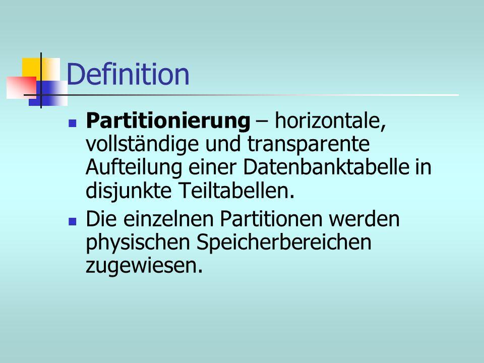 Definition Partitionierung – horizontale, vollständige und transparente Aufteilung einer Datenbanktabelle in disjunkte Teiltabellen.