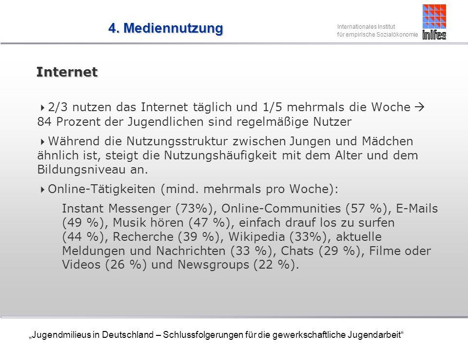 4. Mediennutzung Internet
