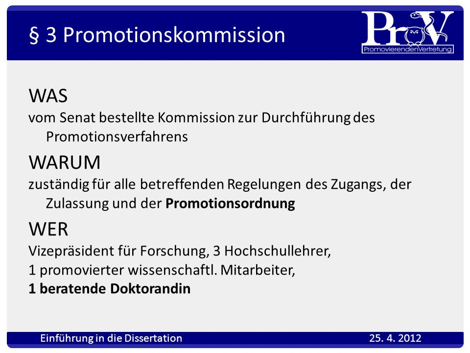§ 3 Promotionskommission