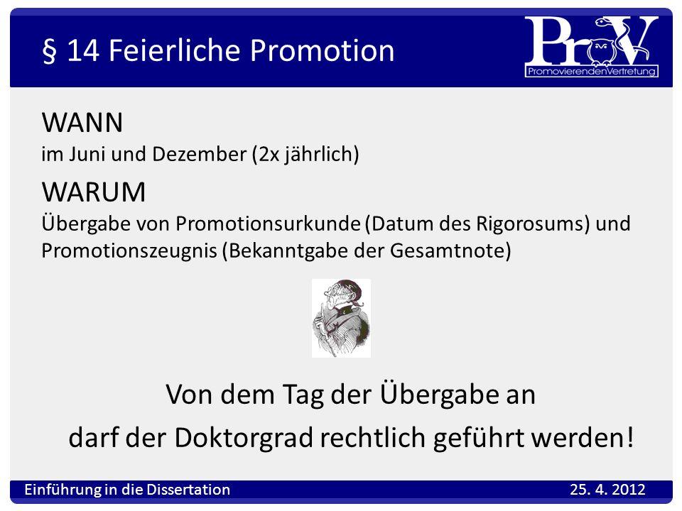 § 14 Feierliche Promotion