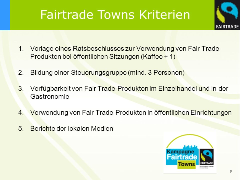 Fairtrade Towns Kriterien