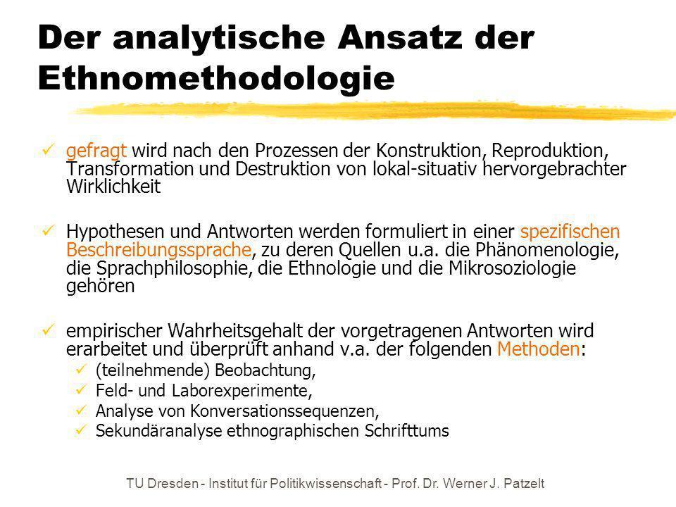 Der analytische Ansatz der Ethnomethodologie