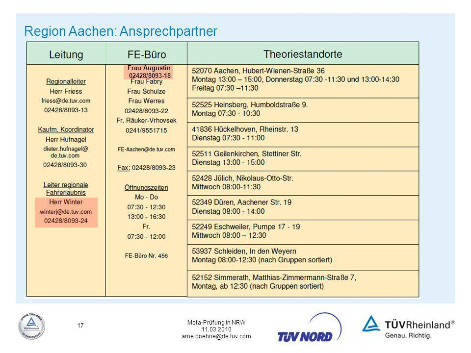 Region Aachen: Ansprechpartner