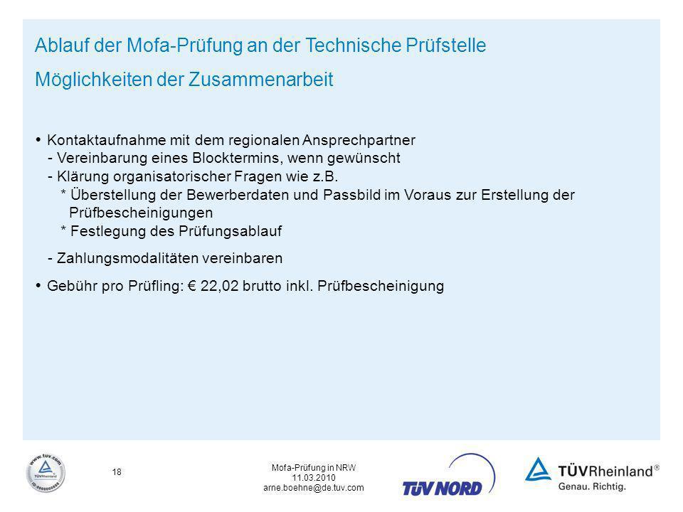 Ablauf der Mofa-Prüfung an der Technische Prüfstelle