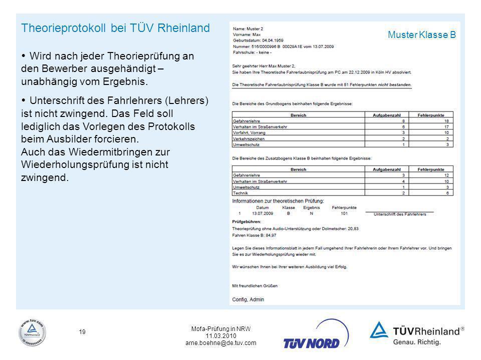 Theorieprotokoll bei TÜV Rheinland