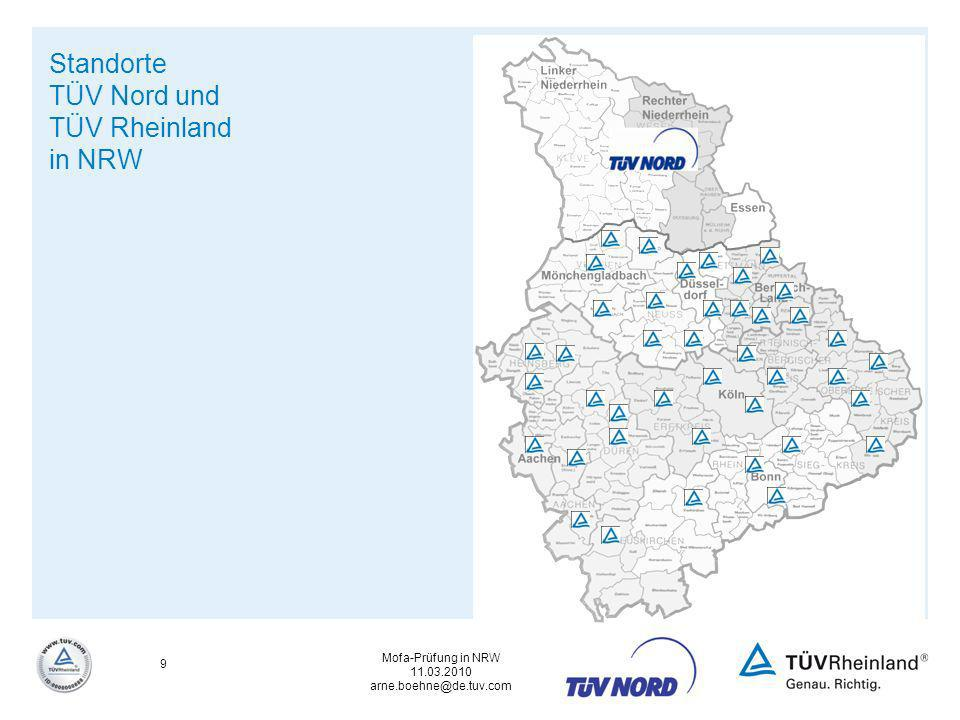 Standorte TÜV Nord und TÜV Rheinland in NRW